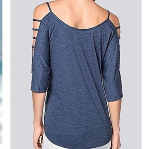 Boutique Tops - Blue 3/4 Hollow Sleeves Loose Fit Pullover NWT